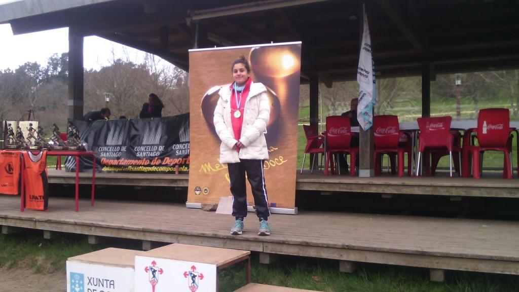 Sandra no máis alto do podium